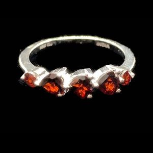 Red Garnet White a Gold Sterling Silver